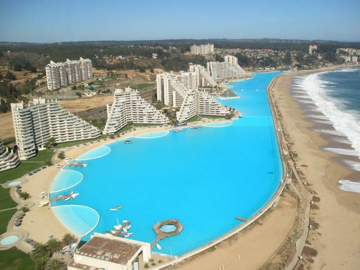 At 1,013 meters (3,324 ft) in length with a total area of 8 hectares (19.77 acres), the swimming pool at the San Alfonso del Mar resort in Algarrobo, Chile is the largest in the world. It was listed officially as the largest swimming pool by area in the Guinness Book of World Records [...]