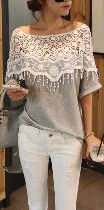 hhhm....could i make this? Lace Hollow T-Shirt