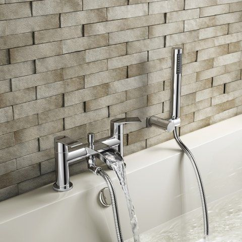 Avis Waterfall Bath Shower Mixer Tap with Hand Held Shower Head - soak.com