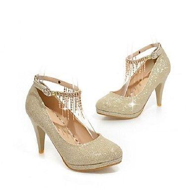 Womens Gold Stiletto Glitter Style Heels