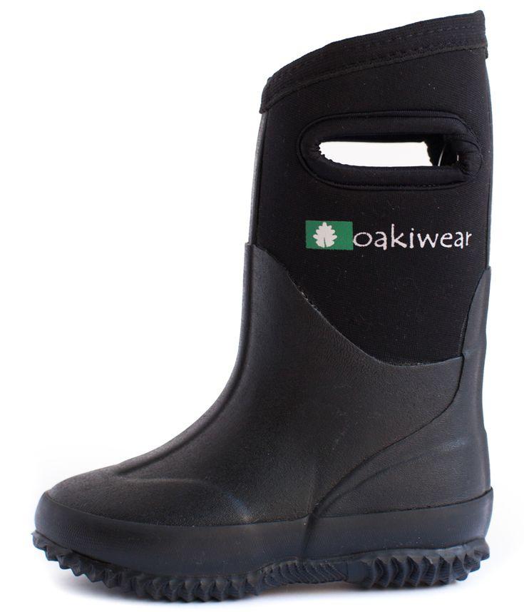 Children's Neoprene Rain/Snow Boots, Black | Oakiwear – Rain Gear, Kids rain suits, kids waders, kids rain gear, and kids rain coats