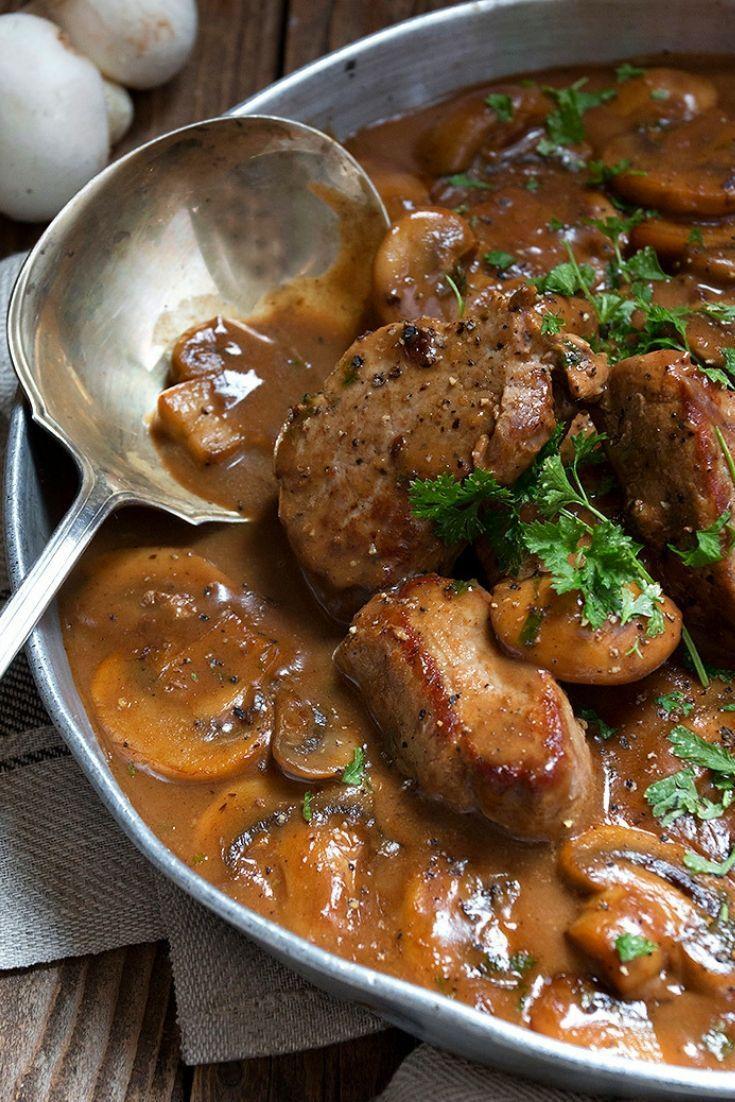 Pork Recipes Skillet Pork Medallions In Mushroom Marsala Sauce Healthy Pork Tenderloin Recipes Pork Tenderloin Recipes Pork Dishes