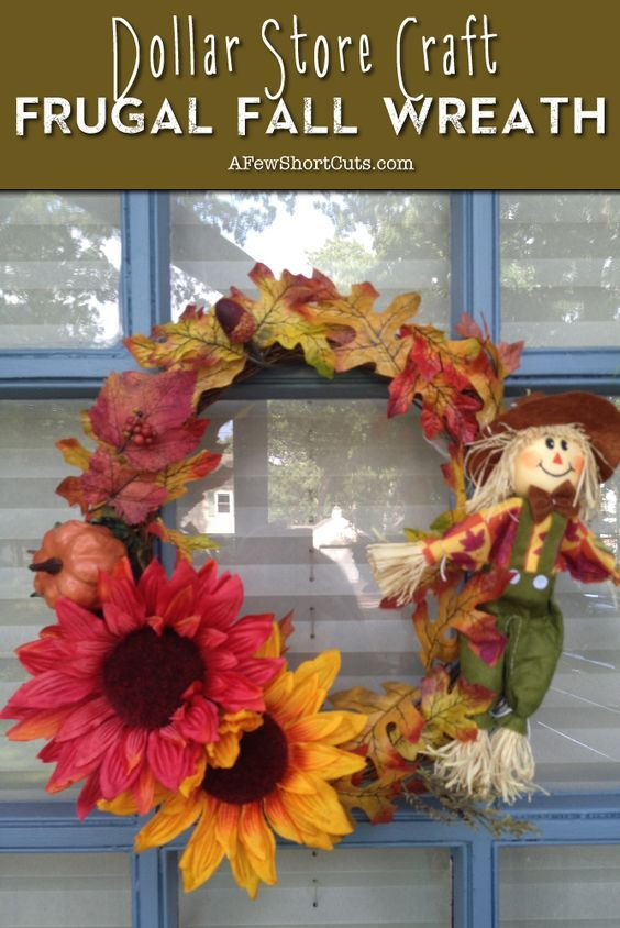 Dollar Store Craft: Frugal Fall Wreath