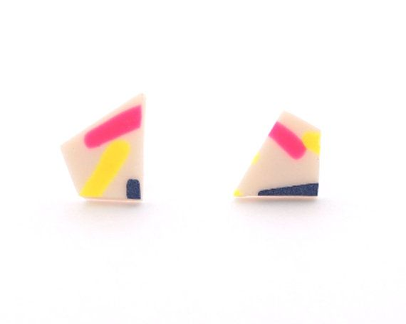 Abstract Beige Blue Neon Pink Yellow Earring by hopeofallhearts