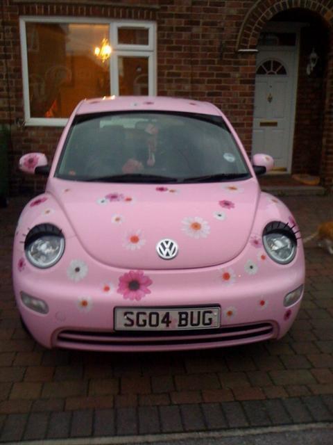 Pink Beetle Car With Eyelashes