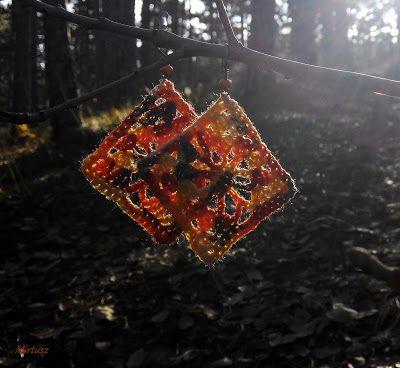 Horgolt fülbevaló  Mirtusz : Őszi-erdő ékszerek