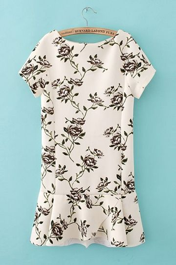 Short Sleeves Fancy Printed Slim Dress