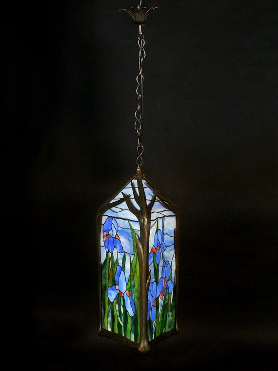 Stained glass lantern with iris. Floral colorful glass lantern. Outdoor stained glass lamp.