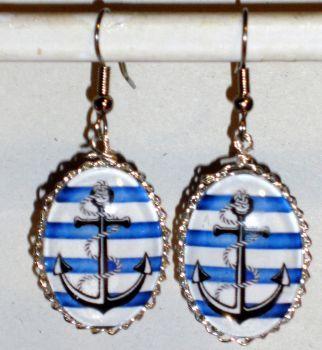 Ohrringe und Ohrstecker im Onlineshop - Verrückte Ohrringe und Schmuck Welt  - Ohrringe Anker Damen Hänger Durchzieher Ohrschmuck Modeschmuck Glas Neuware