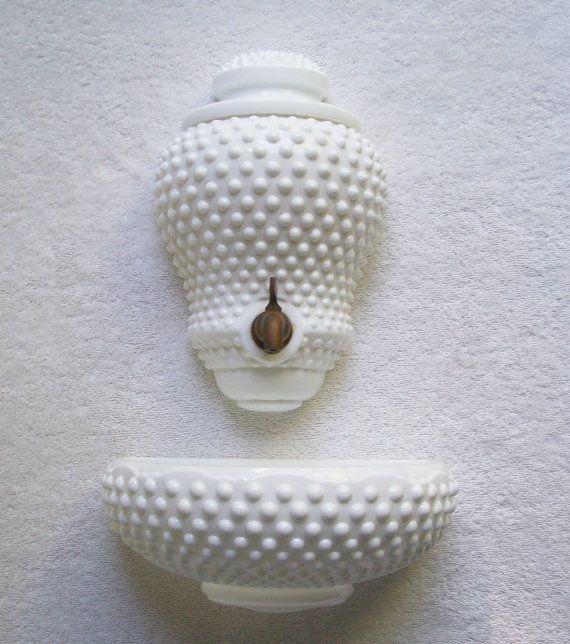 vintage fenton lavabo 1950s hobnail milk glass cottage. Black Bedroom Furniture Sets. Home Design Ideas