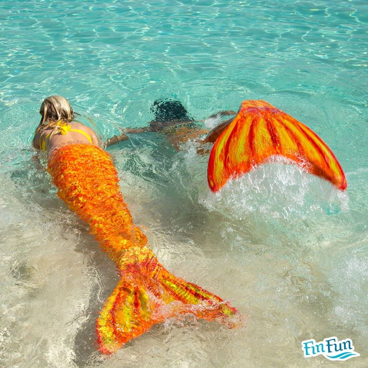 Our Tropical Sunrise Tail is such a hot seller! Make a splash in your pool with these swimmable Fin Fun mermaid tails!