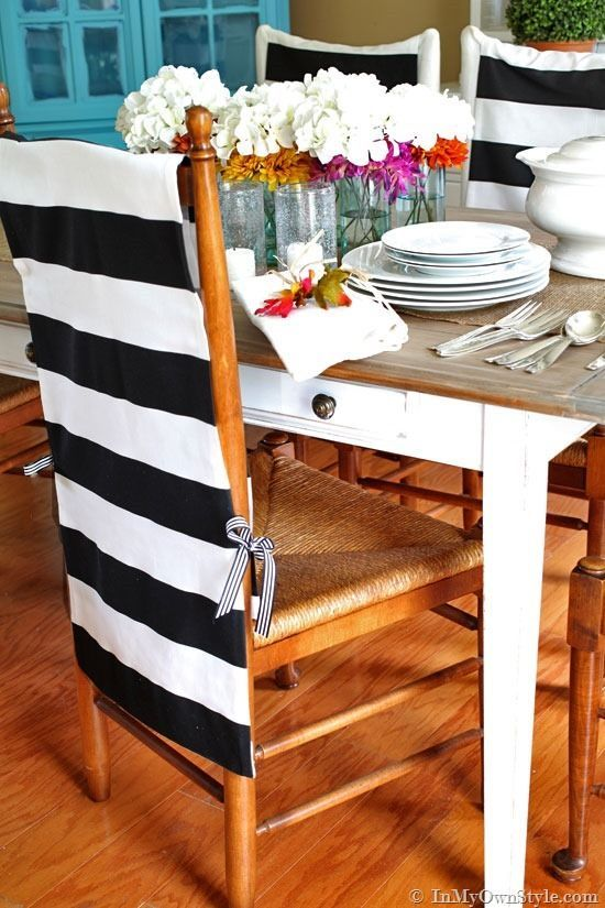 Transform the look of a dining room chairs easily with fabric with these no sew chair back covers. They are quick, easy, and affordable to make. | In My Own Style