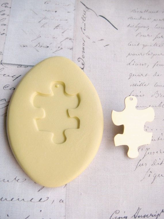 PUZZLE PIECE  - (with bail hole) - Flexible Silicone Mold - Push Mold, Jewelry Mold, Polymer Clay Mold, Resin Mold, Craft Mold
