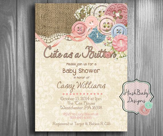 cute as a button shabby chic rustic burlap baby shower invitation printable damask lace birthday girl vintage