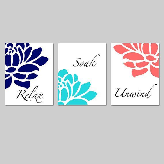 navy aqua coral floral bathroom art set of three 8x10 prints relax soak