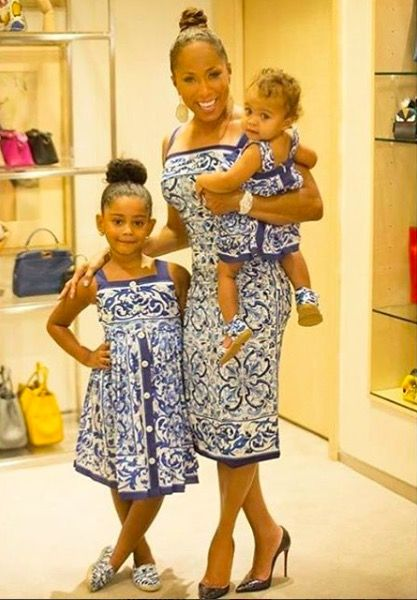 Mother Daughter Fashion on Steve Harvey TV >> Marjorie Harvey, Grandbaby Rose, and Haleigh wearing matching Dolce & Gabana