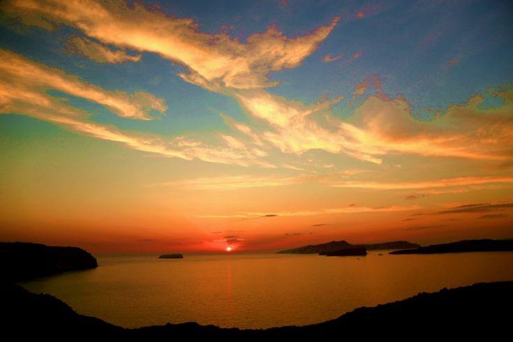 Západ slnka nad kalderou