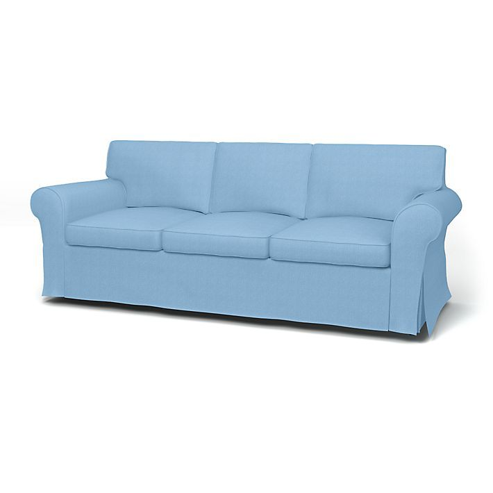 Ektorp Sofa Covers 3 Seater Regular Fit With Piping Using The Fabric Belgian Linen Blend Light Denim Blue Sofa Covers Sofa 3 Seater Sofa Bed