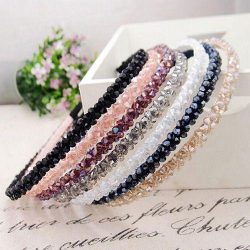 Mulheres Handmade Contas de Cristal Headband Da Flor Hairband Faixa de Cabelo…