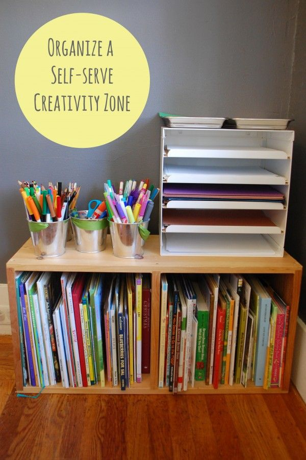 Our self-serve creativity zone not only helps develop my children's confidence and independence, but it makes clean-up time easier because my kids know where everything goes. Lot of links at the end of the post to how the space evolved :: Tinkerlab.com #organize #kids #art #creative