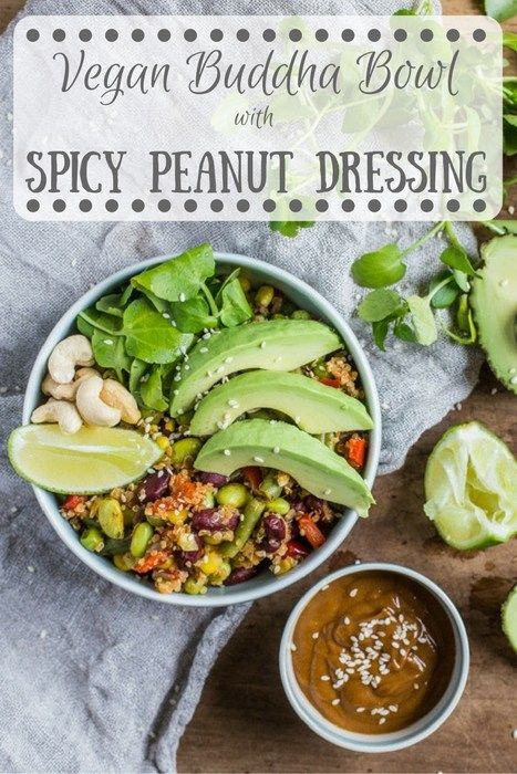 Vegan Buddha Bowl with Spicy Peanut Dressing | Hedgecombers.com  packed lunch, healthy, dairy free, bowl food,#poweroffrozen