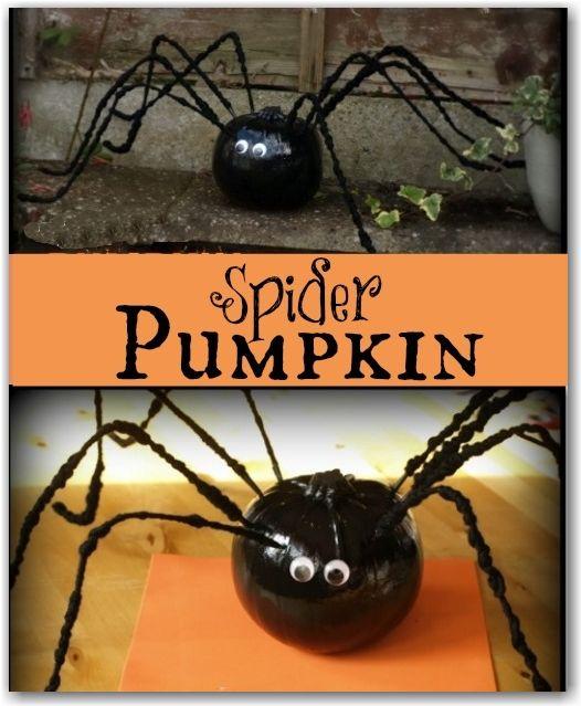 Spider pumpkin - a cute Halloween decoration made from a pumpkin