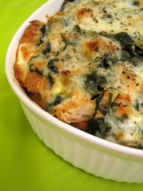 Spinach and Cheese Strata | Spinach, Eggs and Kinds of cheese
