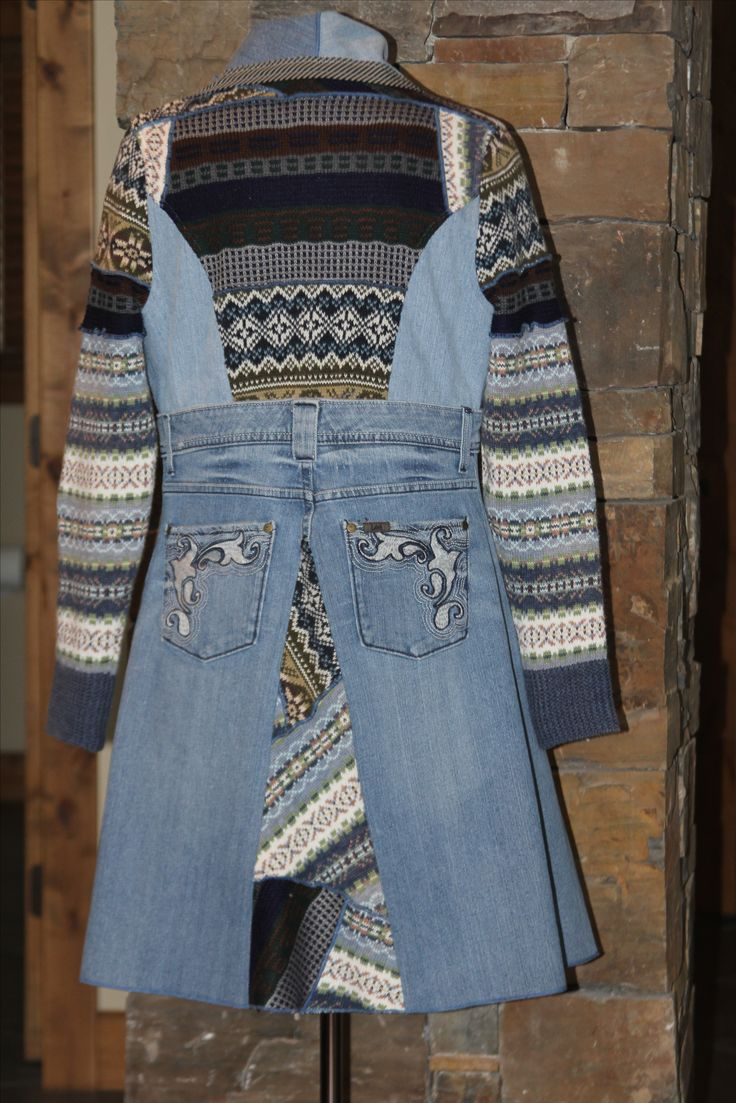 Refashioned sweaters and denim jeans