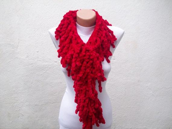 Red knit scarf  soft velvet  Winter accessories  Fall by nurlu