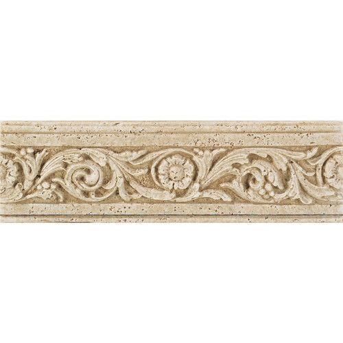 """Daltile Fashion Accents 13"""" x 4"""" Romanesque Decorative Listello in Flora Travertine"""