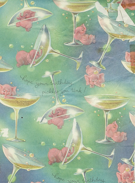 Vintage Wrapping Paper, Pink Elephants & Champagne Glasses