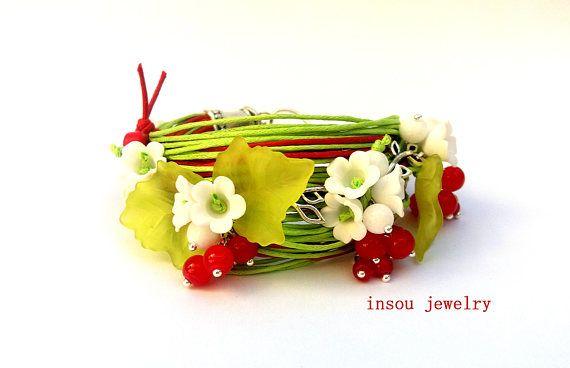 Green Bracelet Flower Bracelet Charm Bracelet Green Red