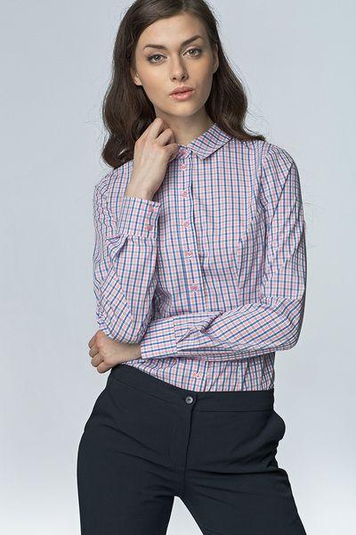 Klasyczna+taliowana+koszula+k43+-+róż/kratka+w+NIFE+Fashion+na+DaWanda.com