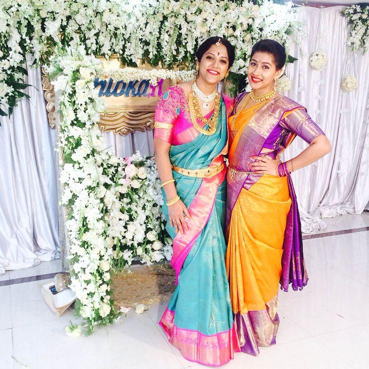 @ujjwala_n Traditional South Indian silk saree.  Yellow purple Silk saree Smiling pink saree candid kanchivaram southindian hairstyle couple wedding bridal bride jewellery south indian dressup diamonds