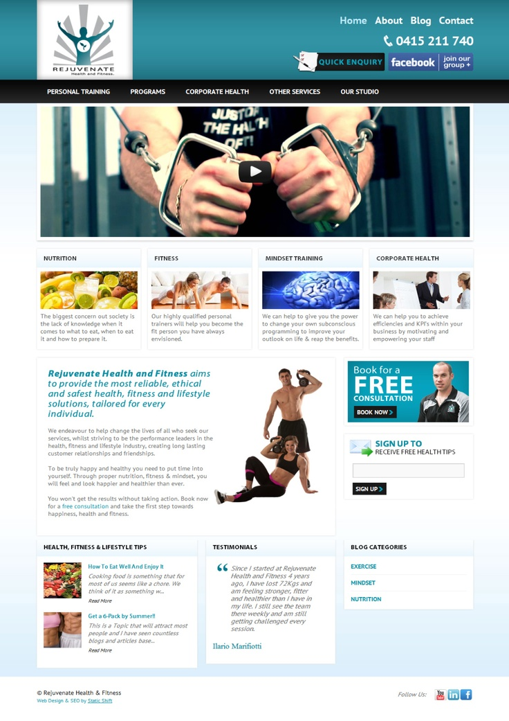 Web design we recently launched for Rejuvenate Health. They were very happy with the results!