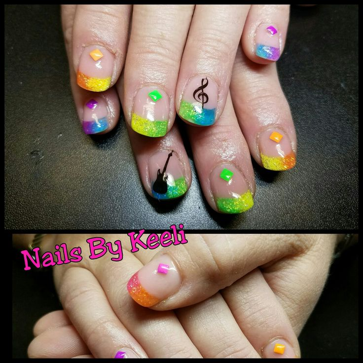 nails, neon nails, neon fade nails, concert nails, guitar nails, music nails, glitter nails, neon glitter nails, 80's nails