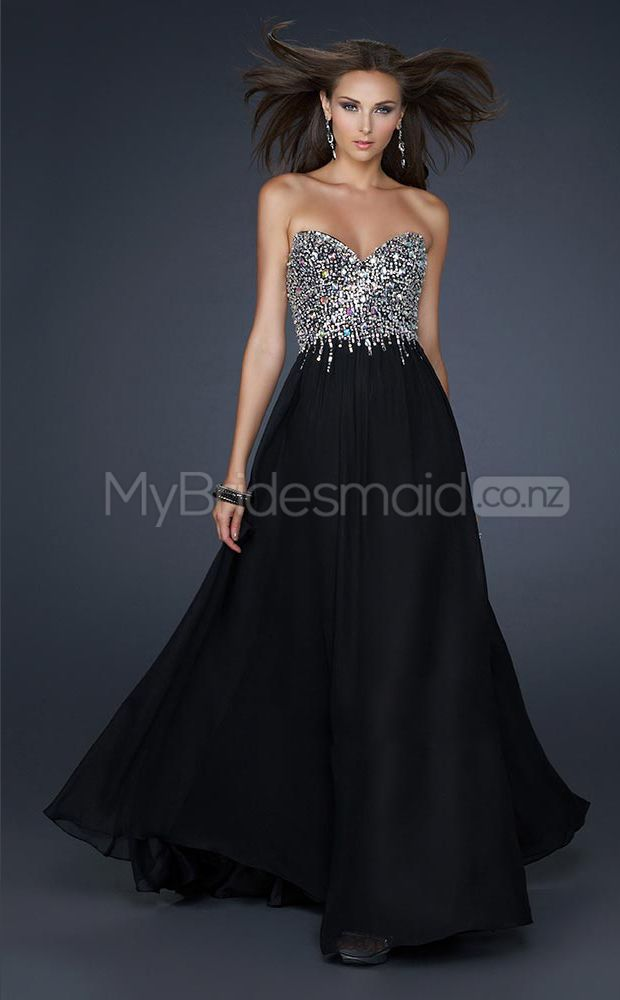 Chiffon A-line Sweetheart Sweep Train Black Ball Dresses(JT603)