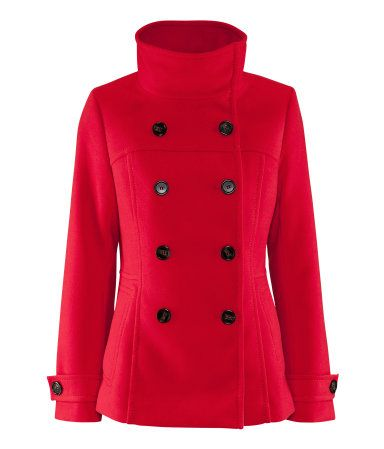 Reddish-orange vegan coat @ H $39.95. It's fantastic and soft. In-store they had it in forest green and black, too.