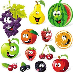 FREE Cartoon-Fruits--Vegetables-Vector