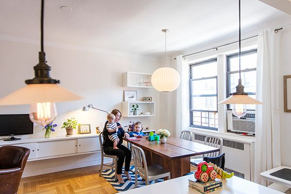 LOTS of natural light and fun fixtures in this Brooklyn dining room.