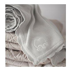 IKEA - ÄLSKAD, Baby blanket, , Cotton is soft and feels nice against your child's skin.Soft and comfy to cuddle with.The comforter has an embroidered white elephant and soft knitted edges.