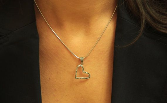 Silver Heart Necklace Silver Pendant and Chain by GozdyJewelry