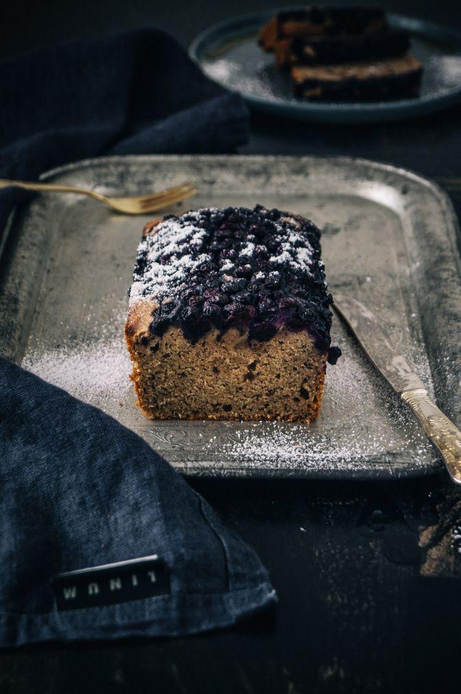 buckwheat banana bread wit blueberry top