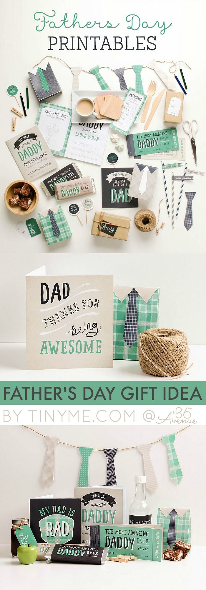 Father's Day Free Printables and Gift Idea! Cute way to decorate for fathers day.