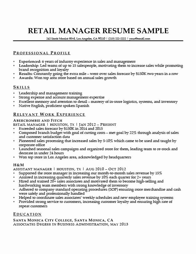 Retail Management Resume Examples And Samples Inspirational Retail Manager Resume Sample Writing Tips In 2020 Retail Manager Manager Resume Sales Resume Examples