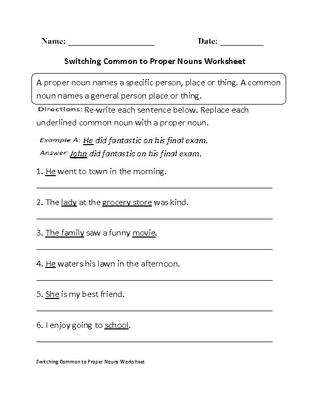 Switching Common To Proper Nouns Worksheet Worksheets Pinterest