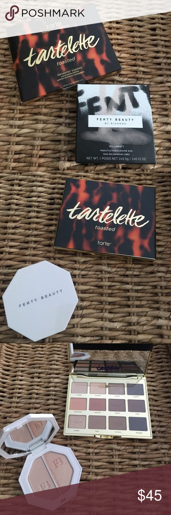 Brand New Tarte Palette & Fenty Beauty Highlighter Brand new, never used beauty bundle! Tartlette Toasted eyeshadow palette and Killawatt freestyle highlighter duo. Can be sold separately. Eyeshadow palette originally $46. Fenty Highlighter originally $34. tarte Makeup