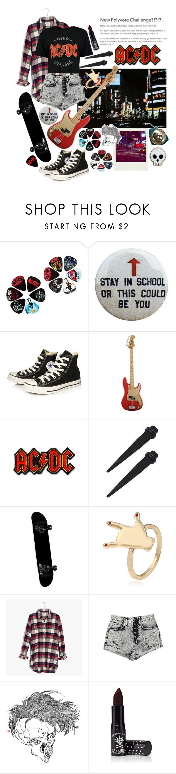 """ac/dc"" by voidman ❤ liked on Polyvore featuring Polaroid, AC/DC, Converse, DC Shoes, Madewell, Carmar and Manic Panic NYC"