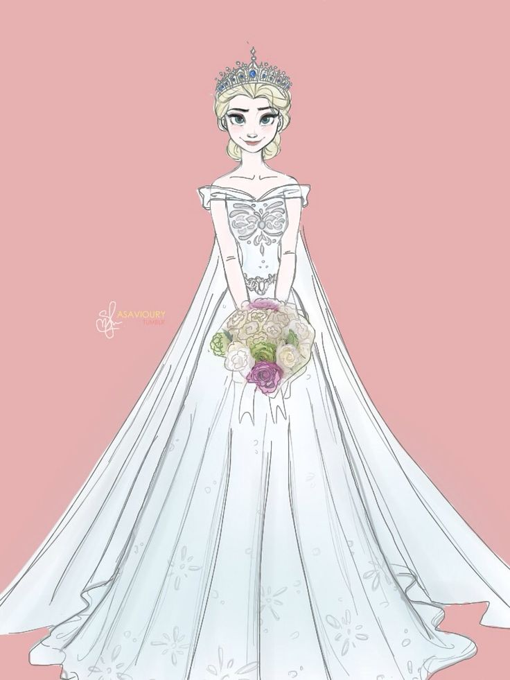 Of course someone would draw Elsa in a wedding dress that looks almost exactly like what I would want