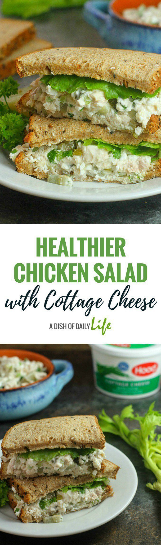 This delicious traditional chicken salad recipe gets an added boost of protein from cottage cheese. Your family will love this healthy makeover. Perfect for lunch or a post workout snack! #ad @HPHood